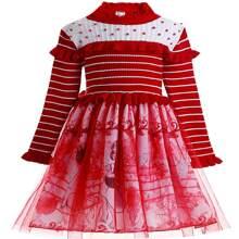 Pulloverkleid mit Netzeinsatz, Rueschenbesatz und Engel Muster