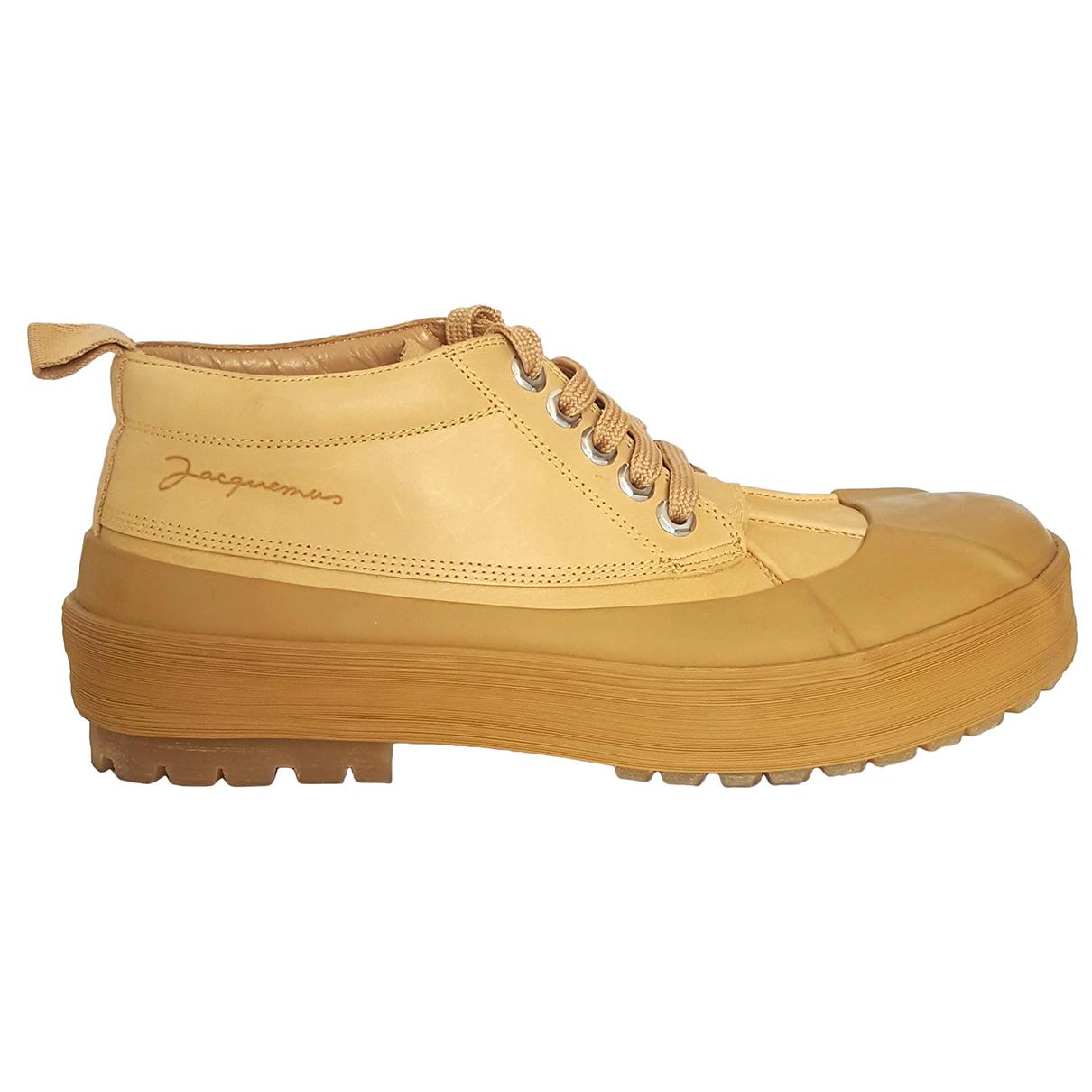 Jacquemus - Boots   pour femme en cuir - beige