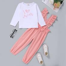 Toddler Girls Slogan Graphic Tee & Bow Detail Ruffle Suspender Pants