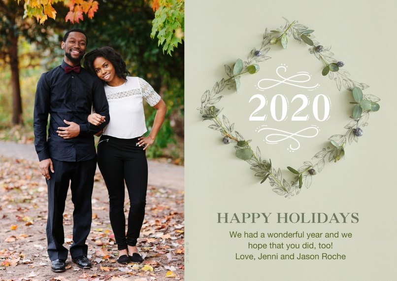 Christmas Photo Cards 5x7 Cards, Premium Cardstock 120lb with Scalloped Corners, Card & Stationery -2020 Holiday Wreath by Hallmark