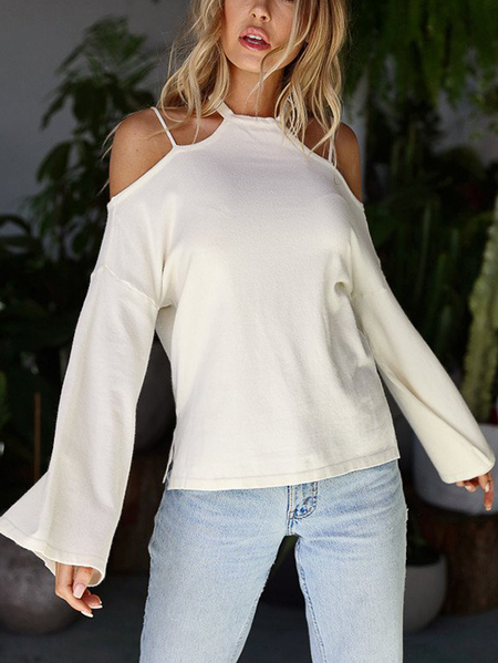 Yoins White Cold Shoulder Bell Sleeves T-shirts