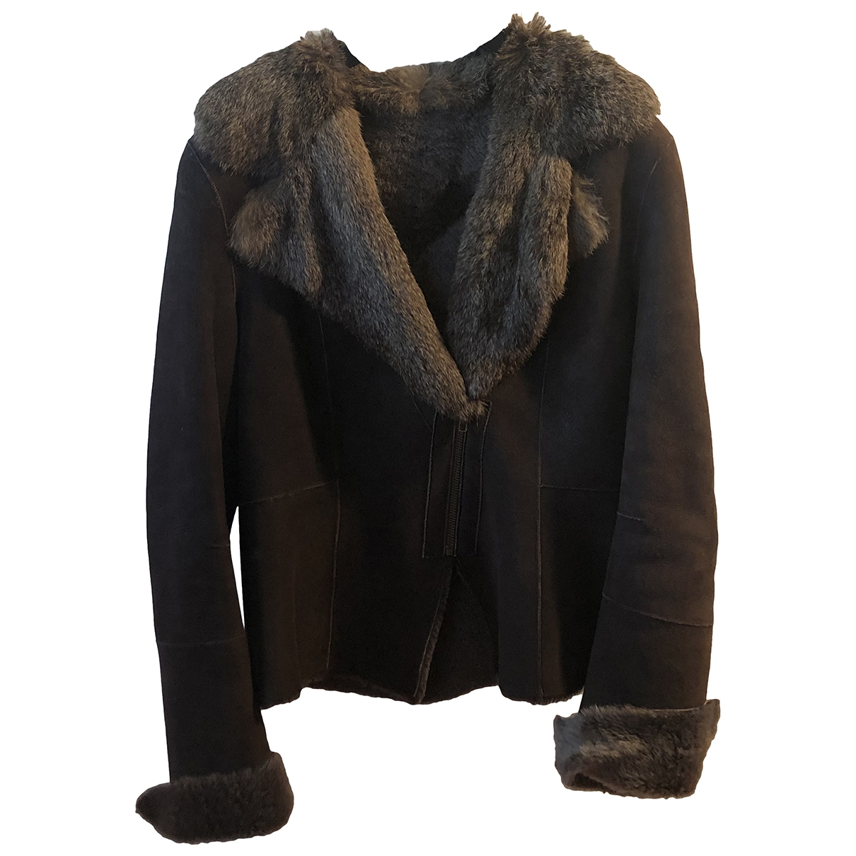 Non Signé / Unsigned \N Brown Suede coat for Women 38 FR