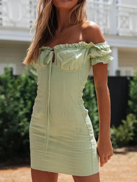 Milanoo Vestido de verano verde fuera del hombro Vestido de playa con cordon