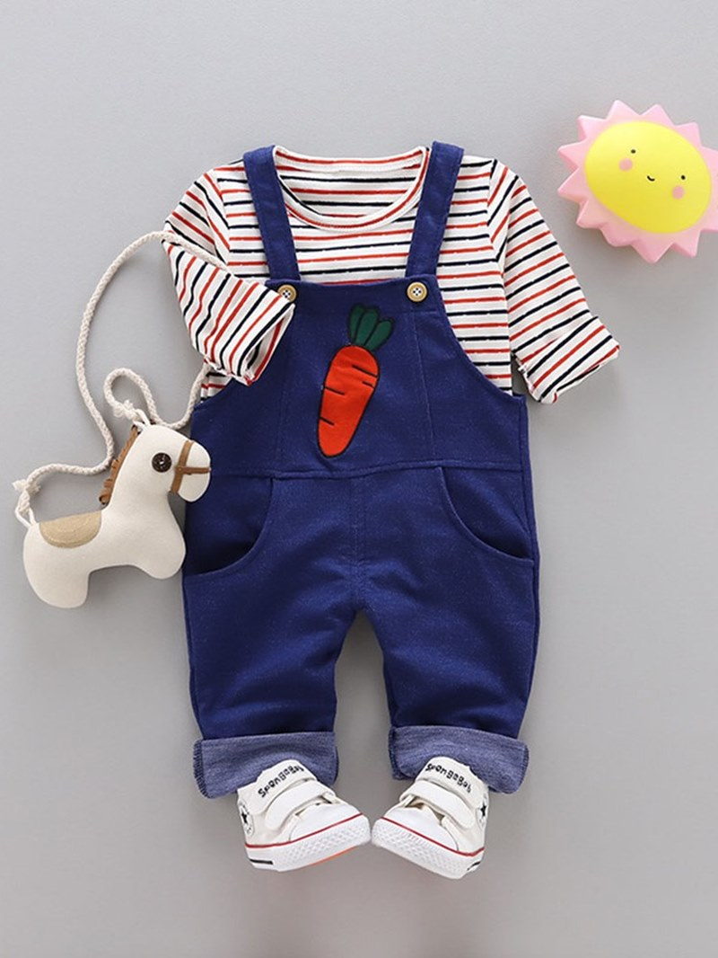 Ericdress Striped T Shirts & Suspenders Baby Boy's Casual Outfits