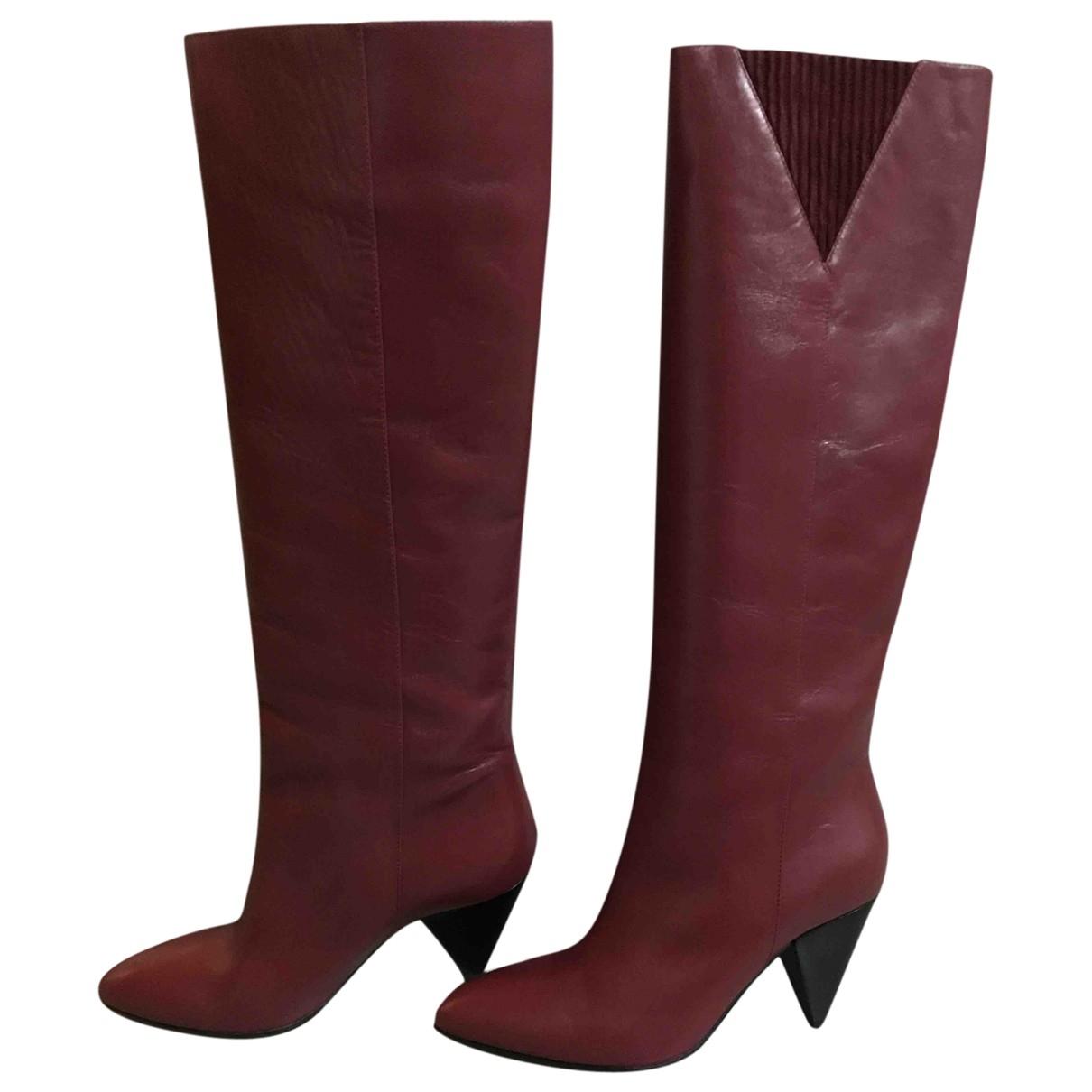 - Bottes   pour femme en cuir - bordeaux