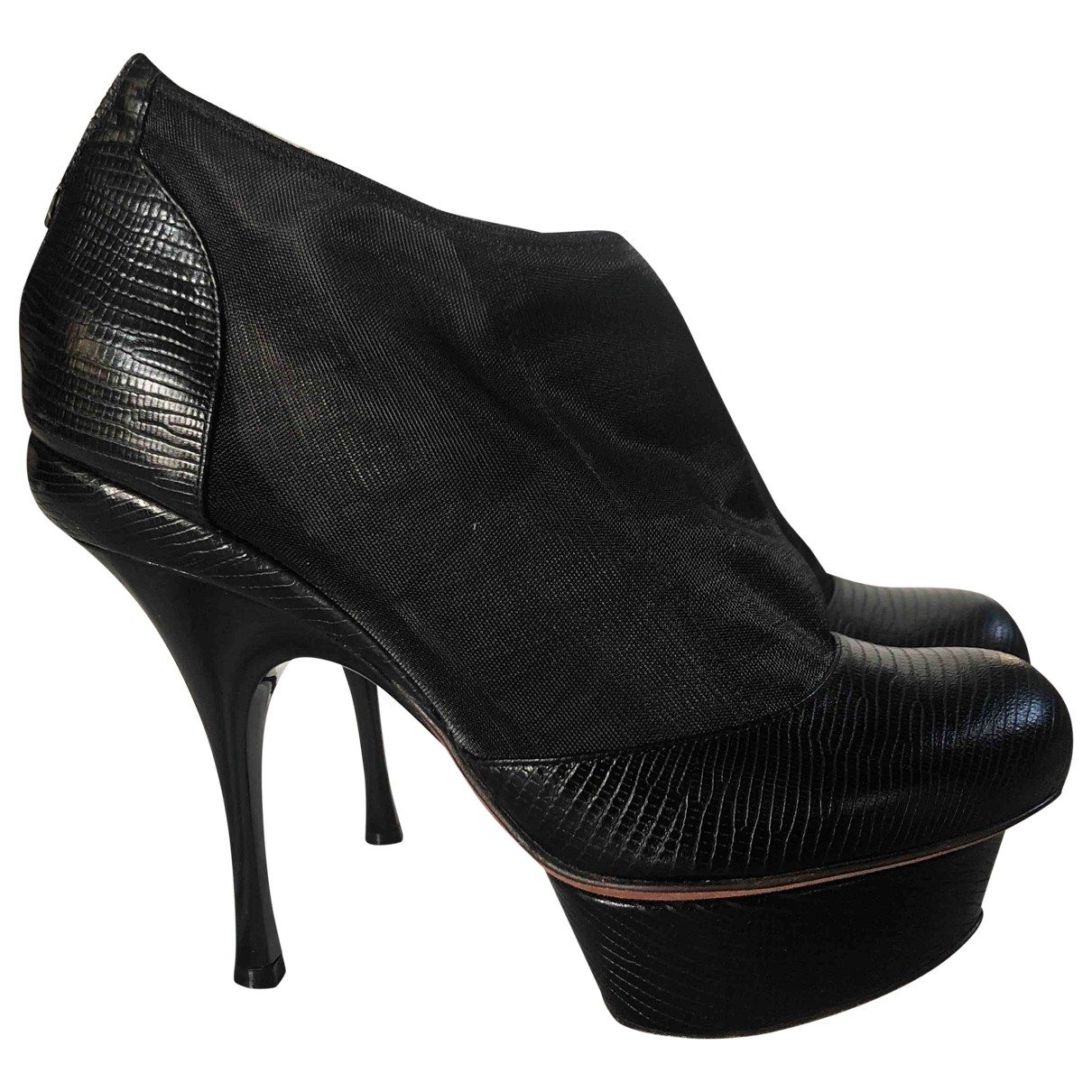 Nina Ricci \N Black Leather Ankle boots for Women 37.5 IT