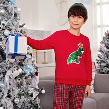 Boys Christmas Sequin Star and Dinosaur Front Pullover