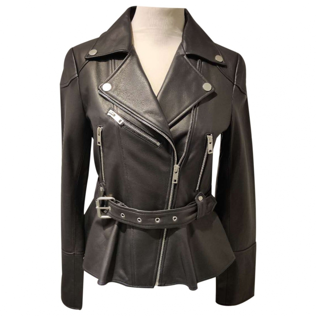 Non Signé / Unsigned \N Black Leather jacket for Women 38 IT
