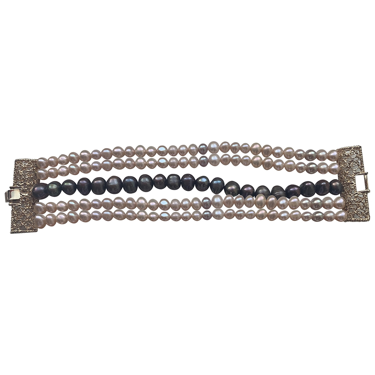Non Signe / Unsigned \N Armband in  Metallic Stahl