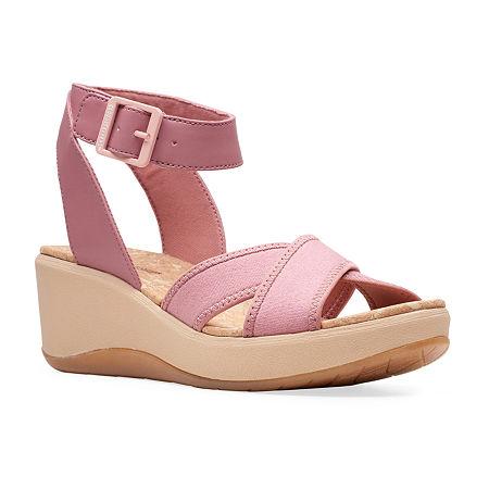 Clarks Womens Step Cali Coast Wedge Sandals, 7 1/2 Medium, Pink