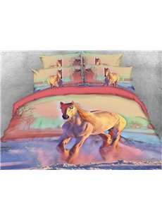 Running Horse and Scenery Digital Printing 3D 5-Piece Comforter Sets