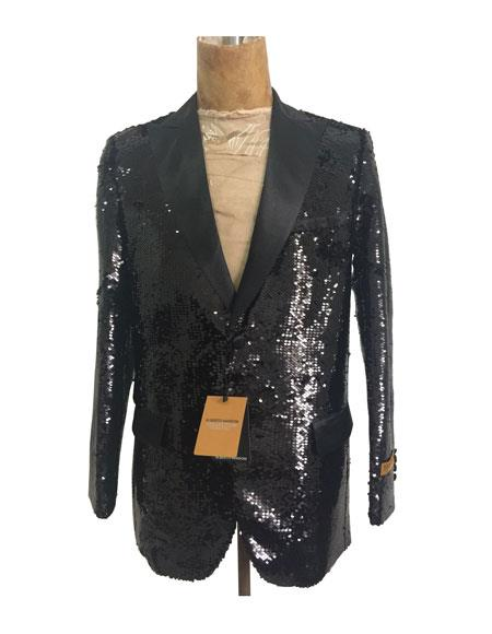 Mens One Button Single Breasted Black Suit