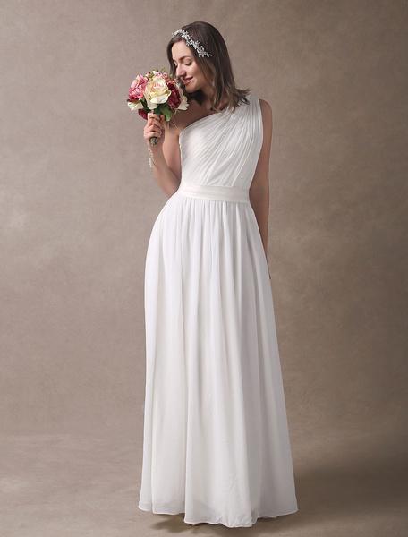 Milanoo Vestidos de novia de marfil Beach One hombro gasa plisada Sash Maxi vestido nupcial