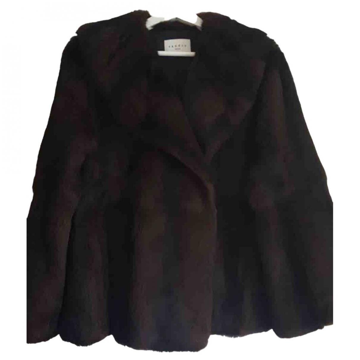 Sandro \N Brown Rabbit coat for Women 8 UK