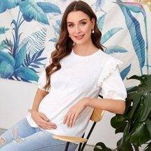 Maternity Top mit Ose Stickereien, Raffungsaum und Puffaermeln
