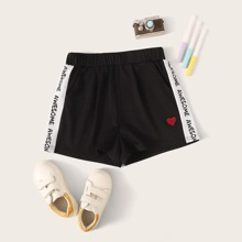 Girls Heart Patched Letter Graphic Track Shorts