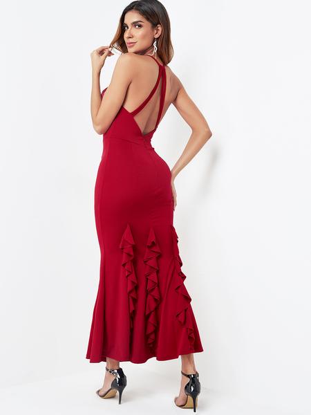 Yoins Burgundy Backless Design Halter Maxi Dress