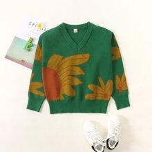 Pullover mit Blumen Muster und V-Kragen