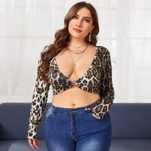 Plus Tie Backless Plunging Neck Leopard Top