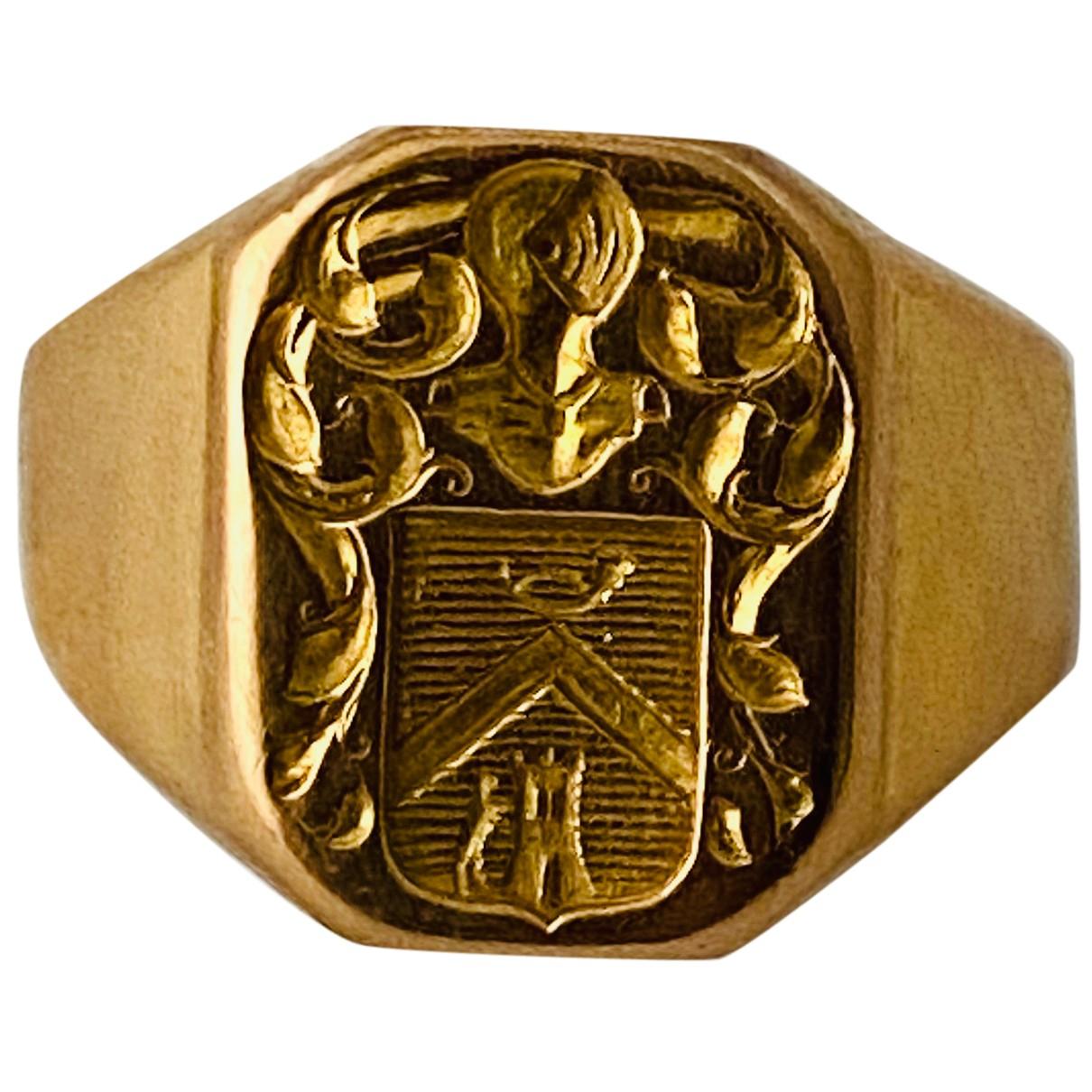 - Bijoux Chevalieres pour homme en or jaune - dore