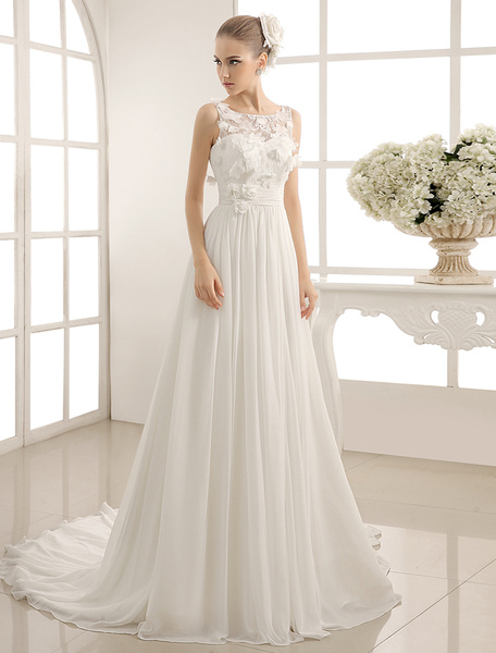 Milanoo Jewel Neck Chapel Train Wedding Dress With Sheath