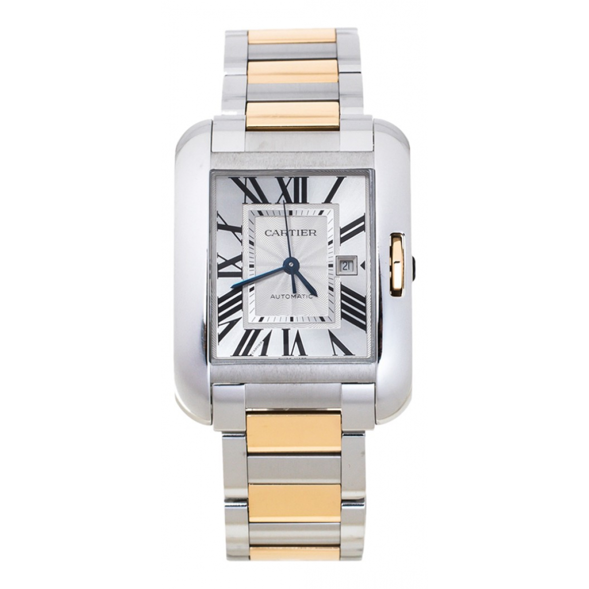 Cartier Tank Anglaise Silver gold and steel watch for Women N