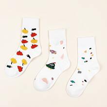 3 pares calcetines con estampado de dibujos animados