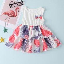 Baby Girl Flamingo Print Bow Layered A-line Dress