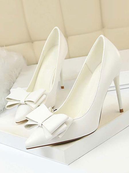 Milanoo Grey High Heels Pointed Toe Bow Stiletto Heel Slip On Pumps For Women