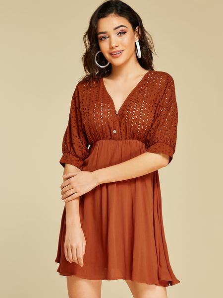 YOINS Brown Backless Design Deep V Neck Half Sleeves Dress