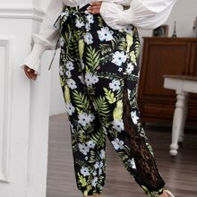 Pantalones con cordon con estampado tropical