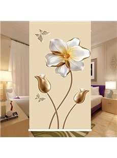 3D Empaistic Lotus Print Blackout and Waterproof Decorative Roller Shades
