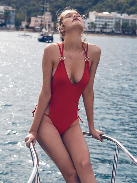 Milanoo One Piece Swimsuit Red Sexy Women Metal Ring Plunging Beach Bathing Suit