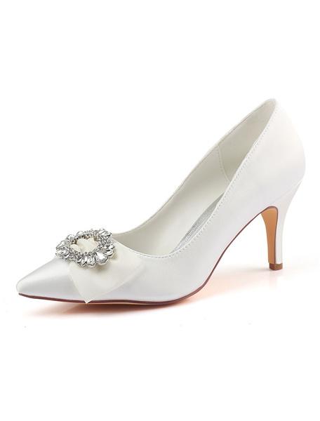 Milanoo Satin Wedding Shoes Ivory Pointed Toe Rhinestones Bow High Heel Bridal Shoes