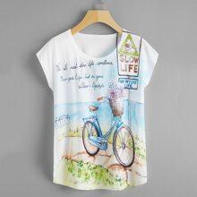T-Shirt mit Buchstaben & Grafik und Umhangaermeln