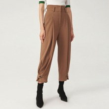 Button Strap Hem Seam Front Tailored Pants