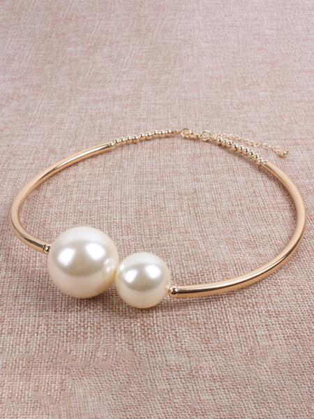 Milanoo Necklaces Ecru White Two-Tone ABS Pearls Imitation Pearl Women\'s Jewelry