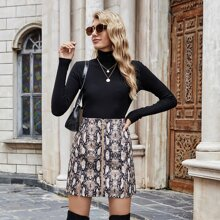 Zip Up Snakeskin Print Corduroy Skirt