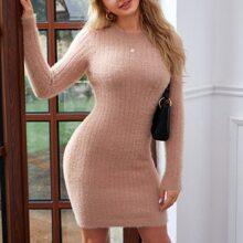 Einfarbiges figurbetontes Pullover Kleid