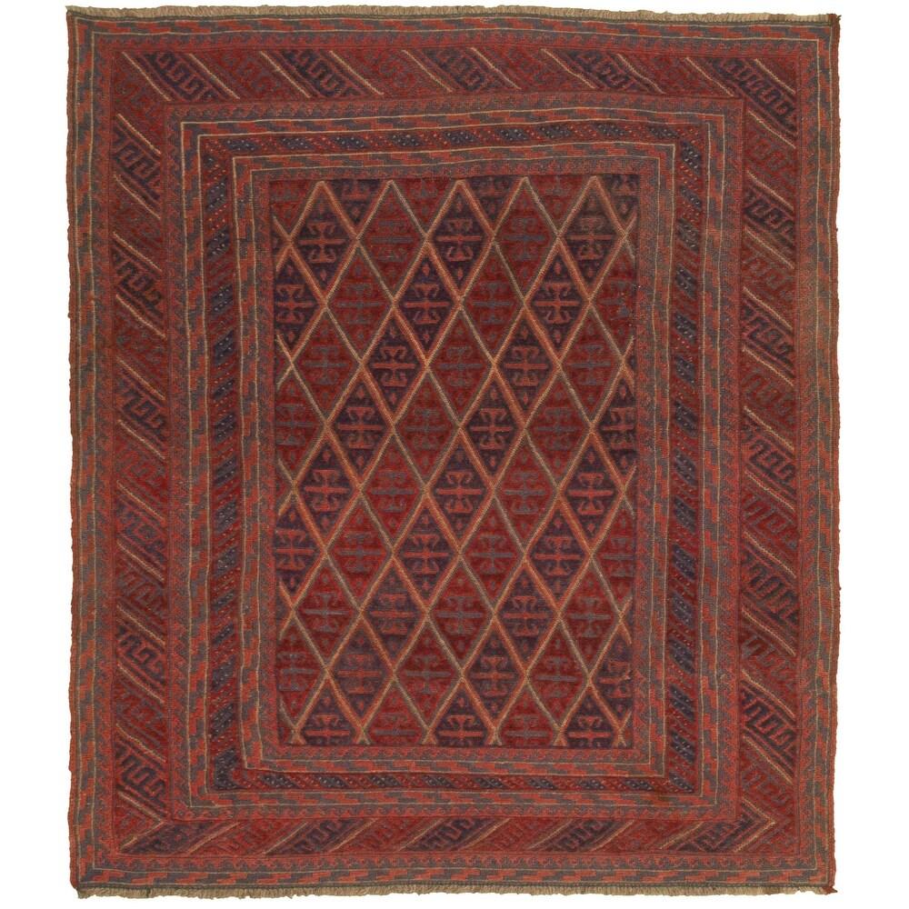 ECARPETGALLERY Hand-knotted Tajik Red Wool Rug - 5'2 x 5'11 (Red - 5'2 x 5'11)