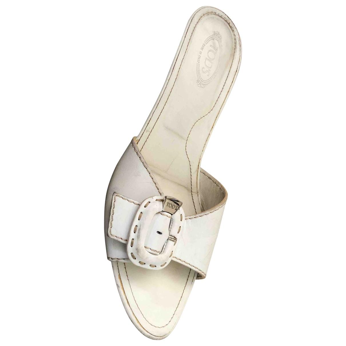 Tods - Sabots   pour femme en cuir - blanc