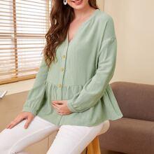 Umstandsmode Bluse mit sehr tief angesetzter Schulterpartie, Knopfen vorn und Schosschen