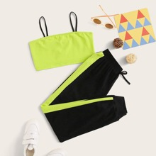 Girls Neon Lime Crop Cami & Drawstring Waist Sweatpants Set