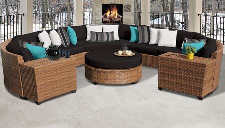 Laguna Collection LAGUNA-08b-BLACK 8-Piece Patio Set 08b with 2 Armless Chair   2 Cup Table   1 Round Coffee Table   3 Curved Armless Chair - Wheat