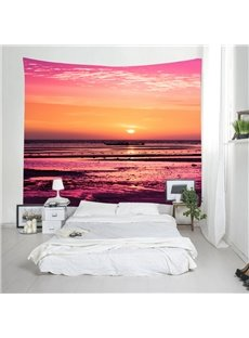 3D Red Sunset Scenery Printed Decorative Hanging Wall Tapestry
