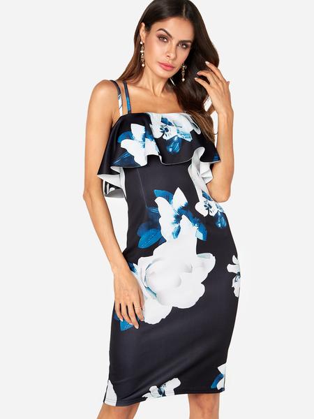 Yoins Random Floral Print Flounced Details Spaghetti Strap Dress