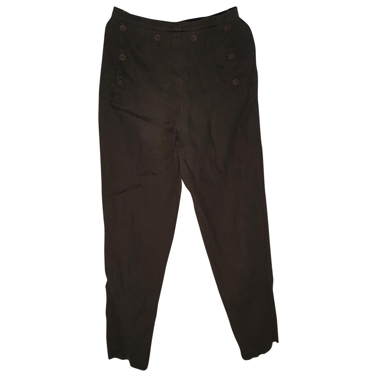 Kenzo \N Black Linen Trousers for Women 38 FR