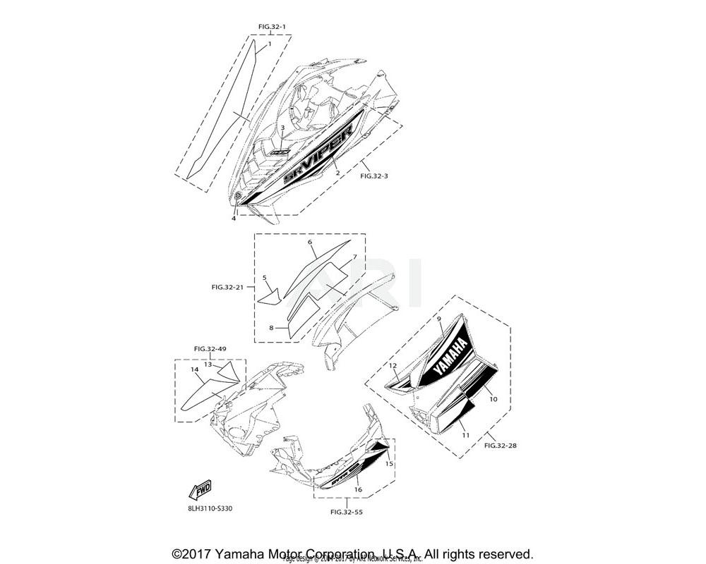 Yamaha OEM 8JR-K711M-00-00 GRAPHIC, SHROUD | RIGHT