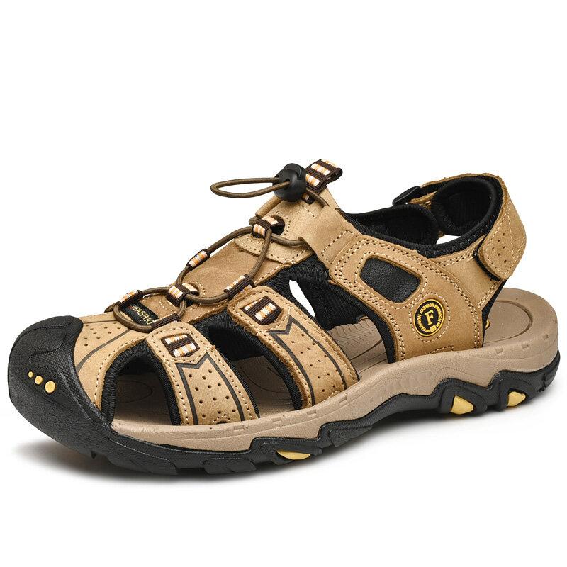 Men Cow Leather Non Slip Anti-collision Elastic Lace Outdoor Casual Sandals