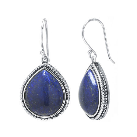 Dyed Blue Lapis Sterling Silver Drop Earrings, One Size , No Color Family